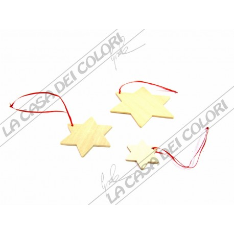 STELLE PENSILI IN LEGNO - SET 15 STELLE ASSORTITE - DIAM. 4/6/10 cm