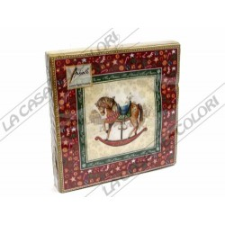 AMBIENTE - TOVAGLIOLI LUNCH - ROCKING HORSE RED - 33x33cm - CONFEZIONE 20 PZ