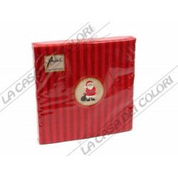 AMBIENTE - TOVAGLIOLI LUNCH -SANTA MEDAILLON RED - 33x33cm - CONFEZIONE 20 PZ