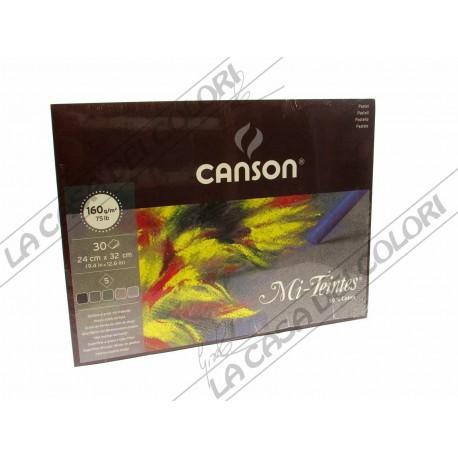 CANSON MI-TEINTES - 160 g/mq - 24x32 cm - BLOCCO 30 FOGLI - 5 COLORI - GRIGI