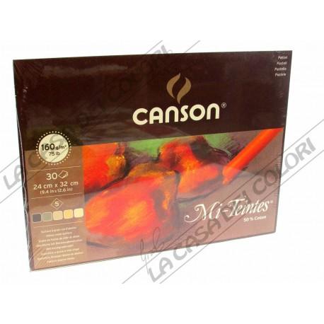 CANSON MI-TEINTES - 160 g/mq - 24x32 cm - BLOCCO 30 FOGLI - 5 COLORI - TONALITA' TERRA