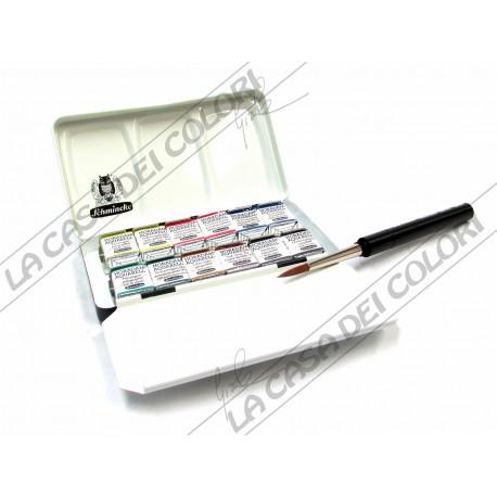 Schmincke Horadam Aquarell - set acquarello - 74 012 - 12 1/2 godet + pennello