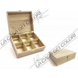 RAYHER - BOX THE IN LEGNO 6 DIVISORI IN LEGNO - 21,5x18x7cm