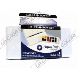 DALER ROWNEY - AQUAFINE - TRAVEL SET 12HP - 12 1/2 GODET - TIN BOX