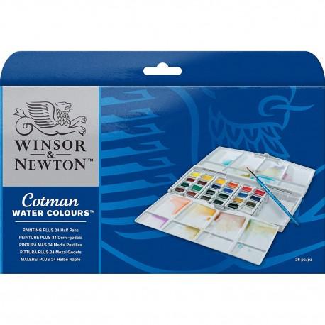 WINSOR & NEWTON - COTMAN - PAINTING PLUS 24 HALF PANS