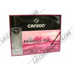 CANSON MOULIN DU ROY - 30,5x45,5 cm - GRANA SATIN 300 g/mq  - 100% COT. - BLOCCHI COLLATI 4 LATI
