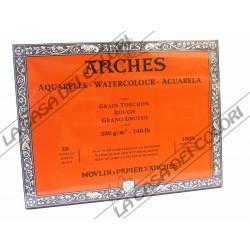 ARCHES AQUARELLE - 26X36 cm - 300 g/mq GRANA GROSSA / RUVIDA - BLOCCHI COLLATI 4 LATI
