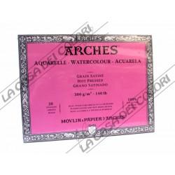 ARCHES AQUARELLE - 20X26 cm - 300 g/mq GRANA SATIN - BLOCCHI COLLATI 4 LATI
