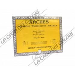 ARCHES AQUARELLE - 18X26 cm - 185 g/mq GRANA GROSSA / RUVIDA - BLOCCHI COLLATI 4 LATI