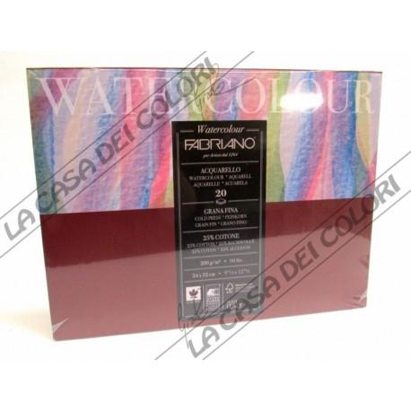 FABRIANO - WATERCOLOUR - 24X32cm - 200 g/mq - GRANA FINE - CARTA COTONE 25%
