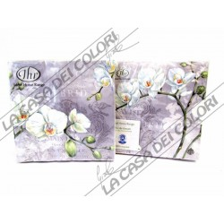 IHR - TOVAGLIOLI LUNCH - WHITE ORCHIDS GREY - 33x33cm - 20 PZ - L494645 - 12-05