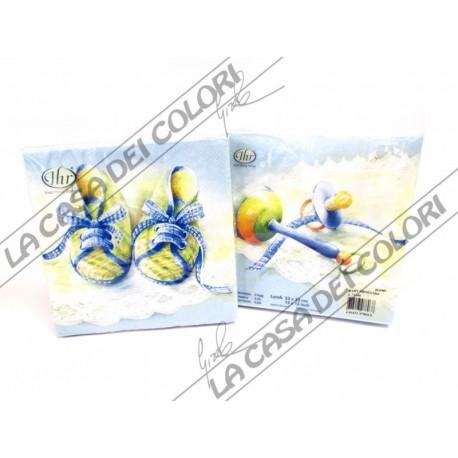 IHR - TOVAGLIOLI LUNCH - BABY SHOES BLUE- 33x33cm - 20 PZ - L711410 - 46