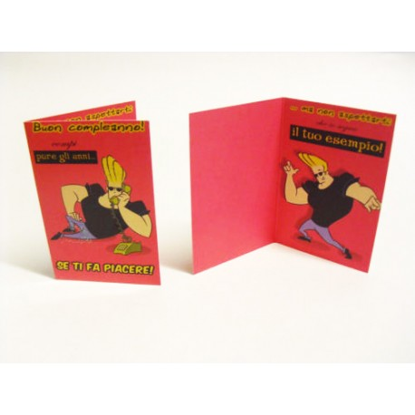 BIGLIETTO D'AUGURI MINI - COMPLEANNO - 9x6cm - CARTOON NETWORK - JOHNNY BRAVO