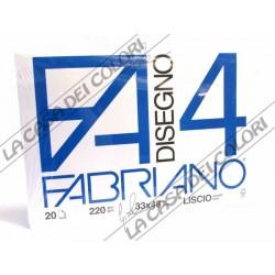 FABRIANO -  F4 - 220 g/mq LISCIO - 33x48cm - BLOCCO 20FG 4 ANGOLI