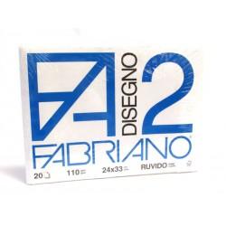 FABRIANO - F2 - 110 g/mq RUVIDO - 24x33cm - BLOCCO 12FG 4 ANGOLI