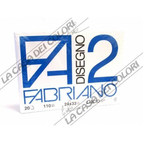 FABRIANO - F2 - 110 g/mq LISCIO - 24x33cm - BLOCCO 12FG 4 ANGOLI