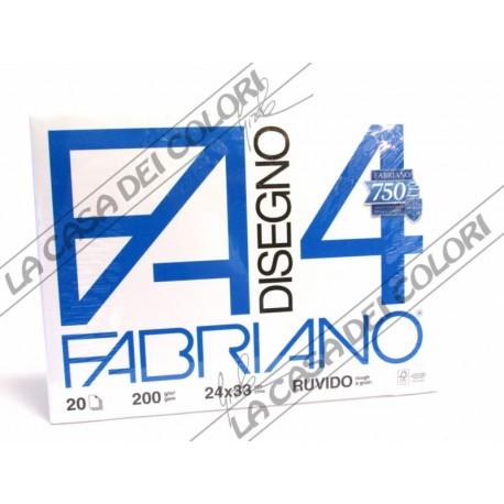 FABRIANO -  F4 - 220 g/mq RUVIDO - 24x33cm - BLOCCO 20FG 4 ANGOLI