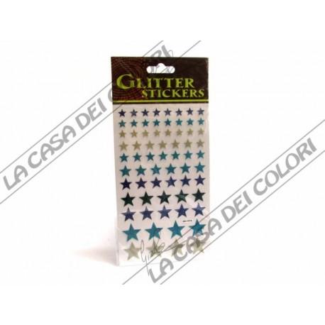 GLITTER STICKERS - STELLE COLORATE - 1 FOGLIO 10x17cm