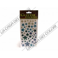 GLITTER STICKERS - STELLE COLORATE - 1 FOGLIO 10x17cm